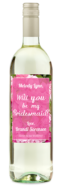 Labeled white wine will you be my bridesmaid? bottle