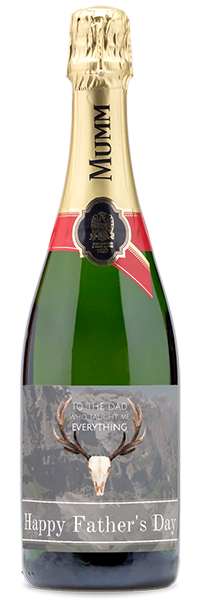 """Custom labeled """"Happy Father's Day"""" sparkling wine bottle"""